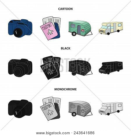 Vacation, Photo, Camera, Passport .family Holiday Set Collection Icons In Cartoon, Black, Monochrome