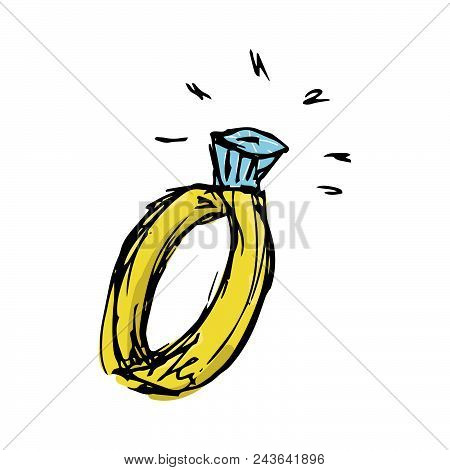 Doodle Ring With A Diamond. Wedding Ring. Vector Illustration Of A Ring.