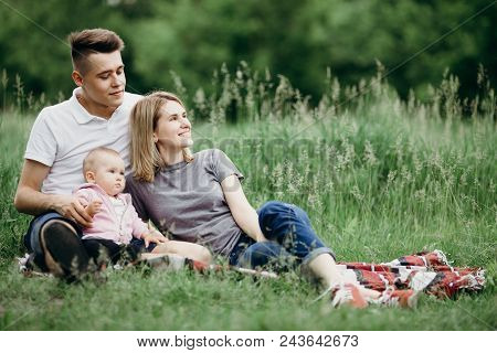 Dreams, Happiness, Lifestyle, Parenthood, Love And Togetherness. Outdoor Portrait Of Happy Family En