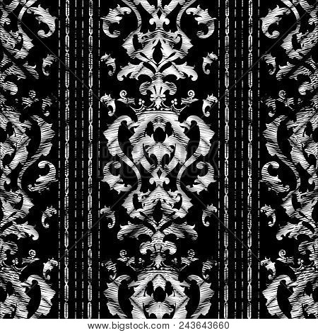 Grunge Baroque Striped Seamless Pattern. Vector Tapestry Background. Black White Embroidery Wallpape