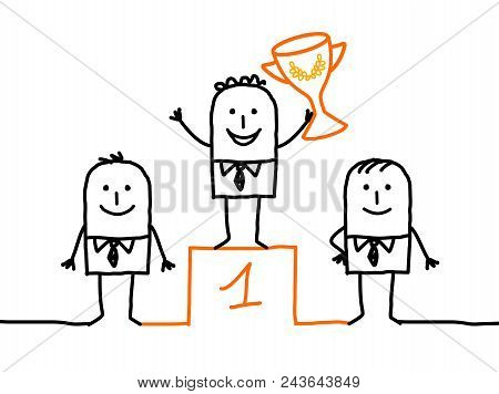 Vector Cartoon Winner Man On Podium With Cup