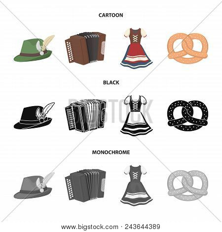 Tyrolean Hat, Accordion, Dress, Pretzel. Oktoberfestset Collection Icons In Cartoon, Black, Monochro