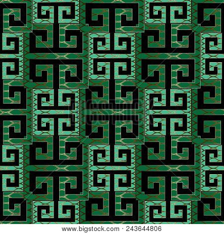 Elegant Modern Green Meander Seamless Pattern Vector Greek Key Background Geometric Emerald Wallpaper Abstract Design With Gold Lattice Backdrop Shapes