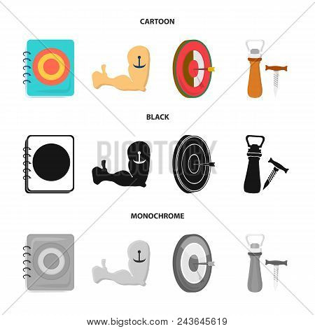 Menu, Armor With Tattoo, Darts, Corkscrew And Opener.pub Set Collection Icons In Cartoon, Black, Mon