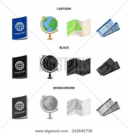 Vacation, Travel, Passport, Globe .rest And Travel Set Collection Icons In Cartoon, Black, Monochrom