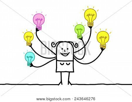 Vector Cartoon Woman With Multi Light Bulbs