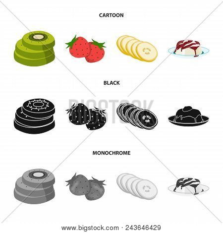 Fruits And Other Food. Food Set Collection Icons In Cartoon, Black, Monochrome Style Vector Symbol S