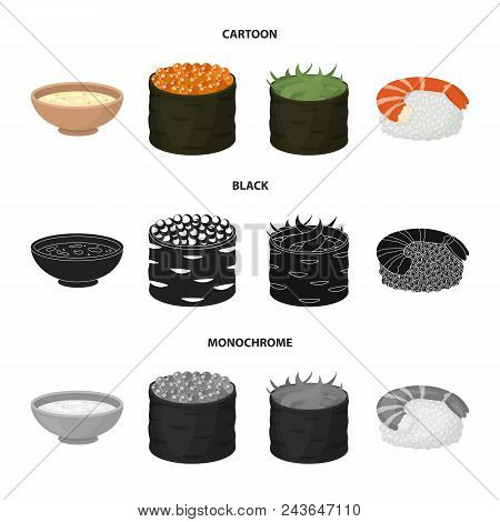 Bowl Of Soup, Caviar, Shrimp With Rice. Sushi Set Collection Icons In Cartoon, Black, Monochrome Sty