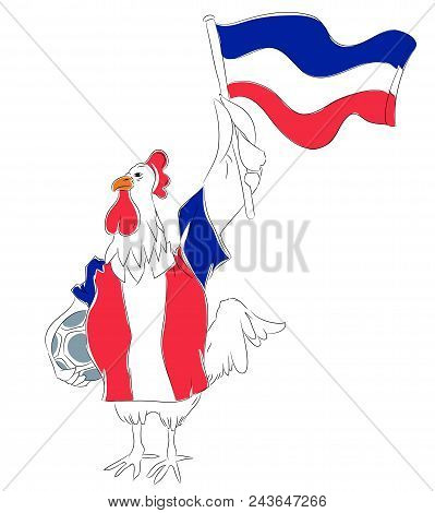 Soccer Mascot For France.  France Rooster Mascot For Football Tournaments.