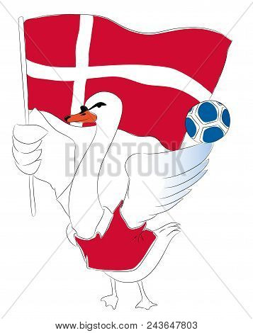 Soccer Mascot For Denmark.  Denmark Swan Mascot For Football Tournaments