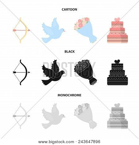Arrow Cupid, Dove, Bouquet Of Flowers, Wedding Cake. Wedding Set Collection Icons In Cartoon, Black,