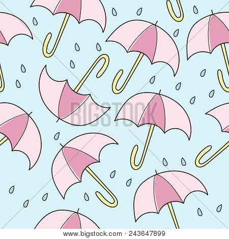 Abstract Handmade Umbrella And Drop Seamless Pattern Background. Childish Handcrafted Wallpaper For