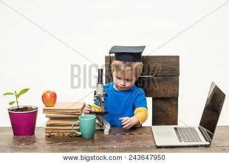 Science, Biology, Experiment, Education, Modern Technology Concept. Thoughtful Smart Small Boy, Rese
