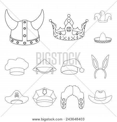 Different Kinds Of Hats Outline Icons In Set Collection For Design.headdress Vector Symbol Stock  Il