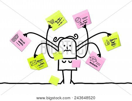 Vector Cartoon Woman Multitasking With Sticky Notes