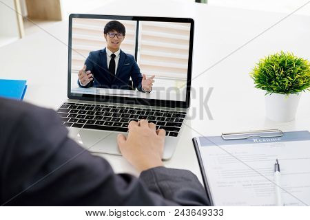 Business Online Concept. Online Job Interview. Businesspeople Making Video Call For Contacting Clien