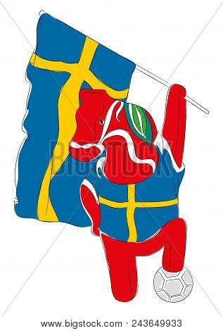 Soccer Mascot For Sweden.  Sweden Horse Mascot For Football Tournaments