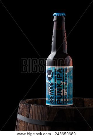 London, Uk - June 06, 2018: Bottle Of Punk Ipa Beer, From The Brewdog Brewery On Old Wooden Barrel O