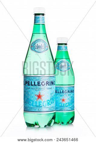 London, Uk - June 02, 2018: Plastic Bottles Of San Pellegrino Mineral Water On White Background. San