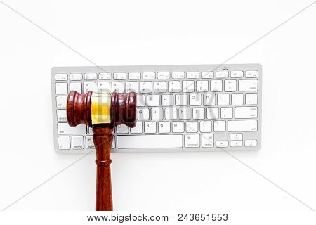 Work Desk Of Contemporary Lawyer. Lawyer Office Concept. Judge Gavel Near Computer Keyboard On White