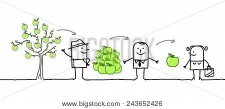 Vector Cartoon Characters - Apples Production Chain