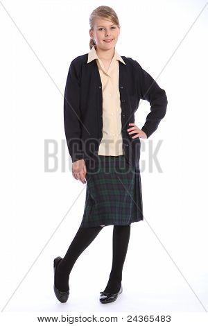 High School Education Blonde Girl In Uniform