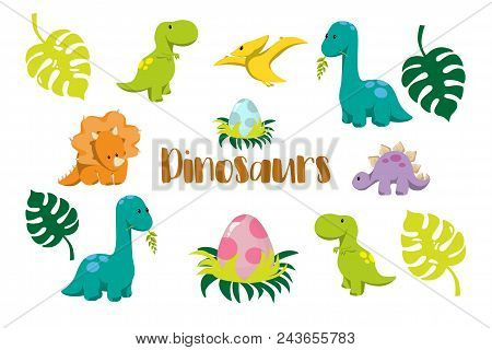 Dinosaur Icons In Flat Style For Designing Dino Party, Children Holiday, Dinosaurus Related Material