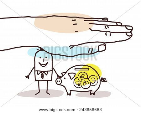 Vector Protecting Big Hand - Cartoon Man With Piggy Bank