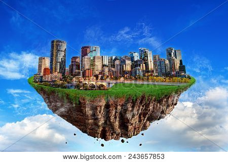 Fantasy Floating Island Of Calgary Cityscape Levitating In The Air At Sunset Hour. Abstract Idea And