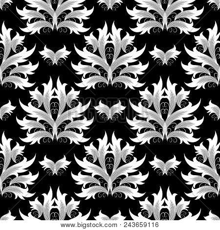 Damask Vector Seamless Pattern. Baroque Background. Floral Wallpaper. Vintage Scrolls Ornaments Ib V