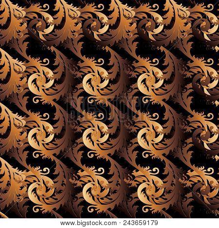 Antique Gold Baroque Vector Seamless Pattern. Damask Background. Floral Wallpaper. Vintage Scrolls O