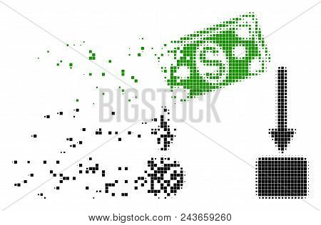 Dissolved Cash Flow Dotted Vector Icon With Erosion Effect. Rectangular Fragments Are Arranged Into