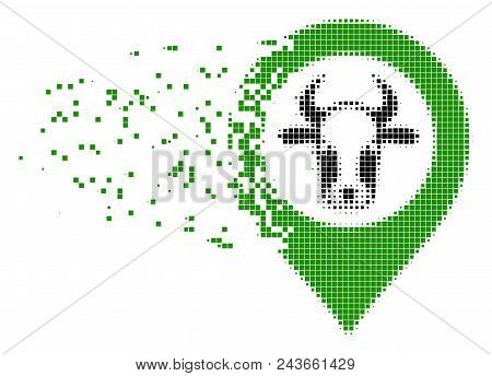 Dispersed Cow Map Marker Dotted Vector Icon With Wind Effect. Square Particles Are Organized Into Di
