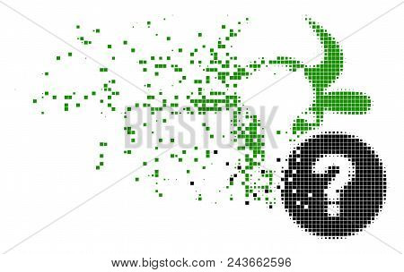 Dispersed Cow Unknown Status Dotted Vector Icon With Erosion Effect. Square Pixels Are Arranged Into