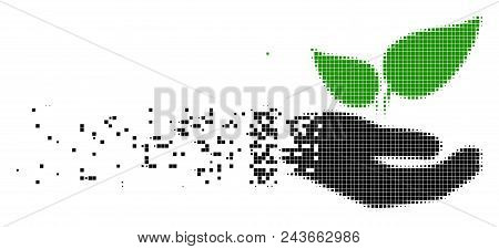 Fractured Eco Startup Hand Dot Vector Icon With Wind Effect. Rectangle Particles Are Composed Into D