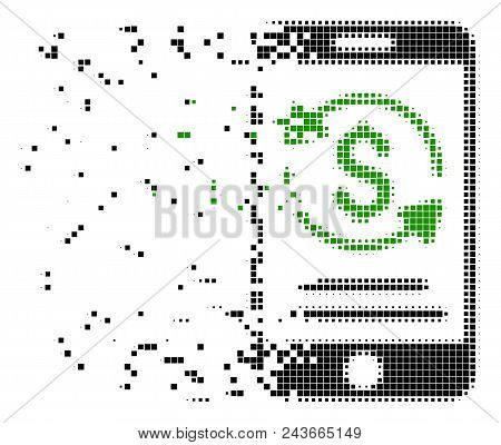 Fractured Mobile Payment Dotted Vector Icon With Wind Effect. Rectangular Points Are Composed Into D
