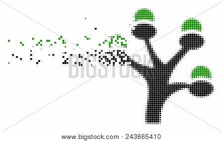 Fractured Money Tree Dotted Vector Icon With Erosion Effect. Square Points Are Arranged Into Dissolv