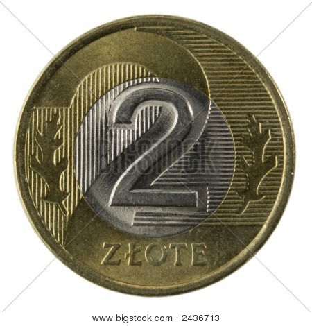 macro of Polish 2 zloty coin isolated on white clipping path included poster