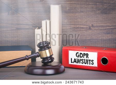 Gdpr And Lawsuits. Wooden Gavel And Books In Background. Law And Justice Concept