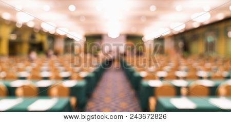 Blurred, Defocused Background Of Modern Conference Room Or University Lecture Hall. Company Business