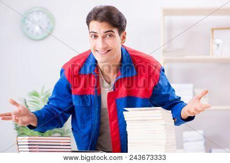 Worker in publishing house preparing book order