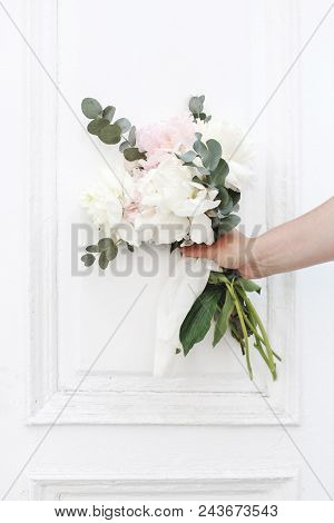Styled Stock Photo. Feminine Wedding, Birthday Composition. Closeup Of Woman's Hands Holding Peonies
