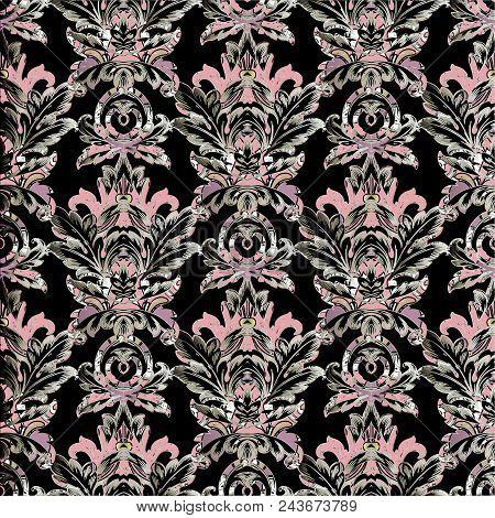 Baroque Vector Seamless Pattern. Antique Damask Background. Floral Pink Violet Ornaments In Baroque
