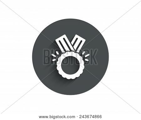 Award Medal Simple Icon. Winner Achievement Symbol. Glory Or Honor Sign. Circle Flat Button With Sha