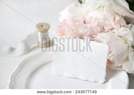 Bright Wedding Or Birthday Stationery Mockup Scene With A Handmade Paper Greeting Card, Porcelain Pl