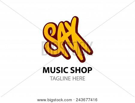 Sax - Logo For Music Shop In Comic Style. Vector Flat Logo On White Background, Eps 10.