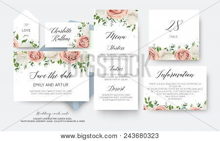 Wedding Floral Save The Date, Menu, Label, Table Number Card Big Vector Design With Creamy White Gar