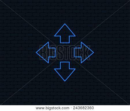 Neon Light. Fullscreen Sign Icon. Arrows Symbol. Icon For App. Glowing Graphic Design. Brick Wall. V