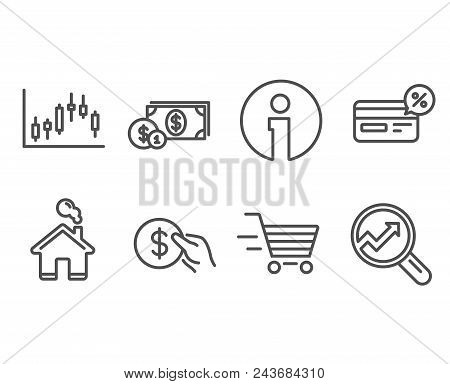 Set Of Delivery Shopping, Candlestick Graph And Cashback Icons. Payment, Dollar Money And Analytics