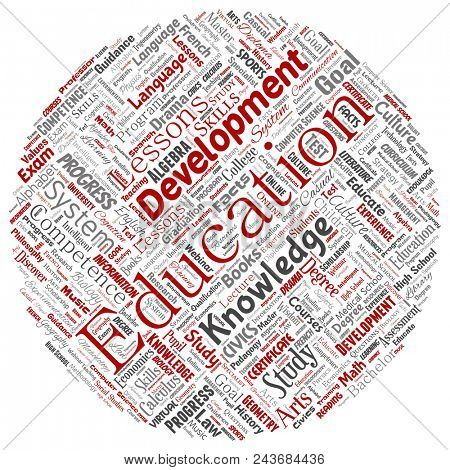Conceptual education, knowledge, information round circle red word cloud isolated background. Collage of learning, infographic, training, teaching, system, progress, online, culture concept